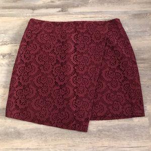 Madewell Asymmetric Maroon Lace Skirt